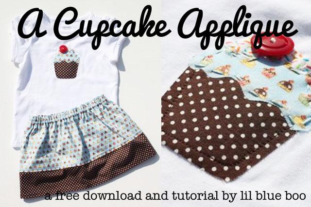 Free Cupcake Applique Template via lilblueboo.com