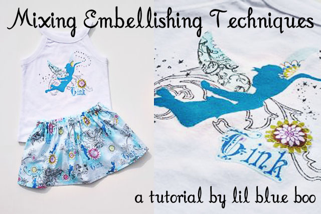 Techniques (Tinkerbell Embellished Shirt and Skirt) via lilblueboo.com