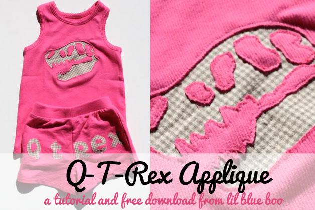 Free T Rex Dinosaur Template for Sewing Applique via lilblueboo.com