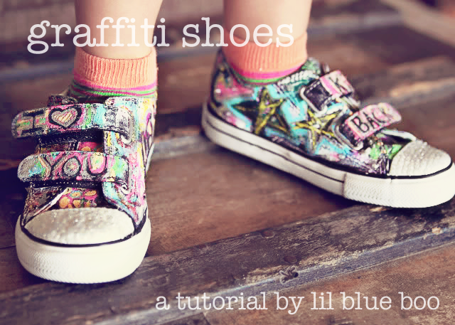 DIY Graffiti Shoes Tutorial via lilblueboo.com