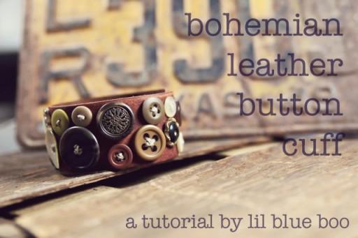 Bohemian Leather Button Cuff DIY Tutorial via lilblueboo.com
