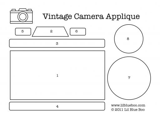 Vintage camera applique download template via lilblueboo.com