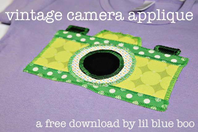 Vintage camera applique download via lilblueboo.com
