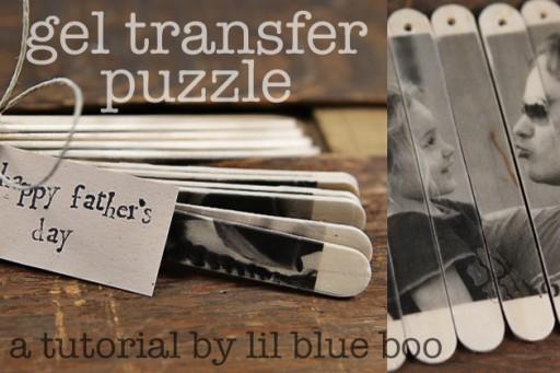 Popsicle Stick Photo Puzzles - DIY Photo Gel Transfer