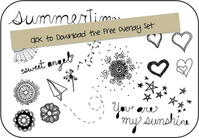 Doodle Photo Summer Overlays Free Download Set via lilblueboo.com