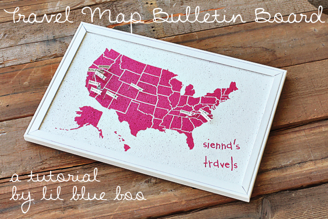 Make a Travel Map Bulletin Board via liblueboo.com