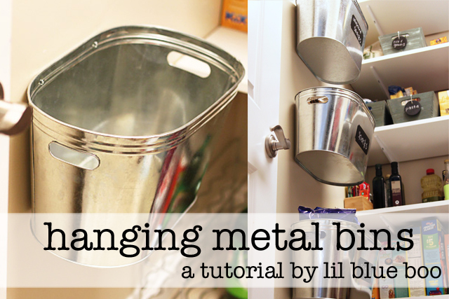 Hanging metal bins for organization via lilblueboo.com