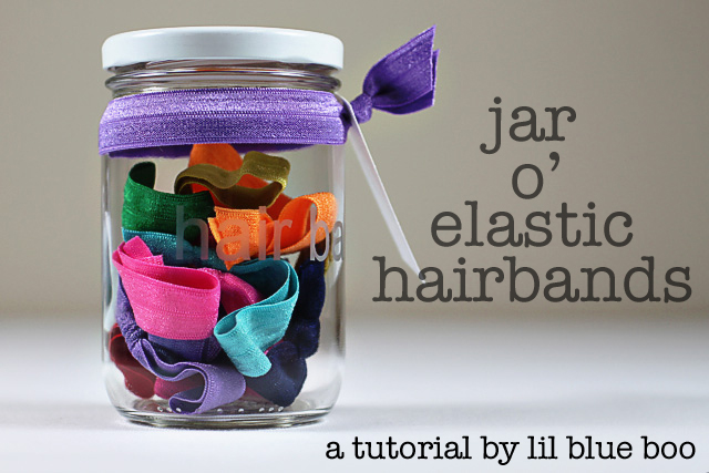 Jar of Elastic Hairbands (using FOE Elastic and Glass Etching) via lilblueboo.com