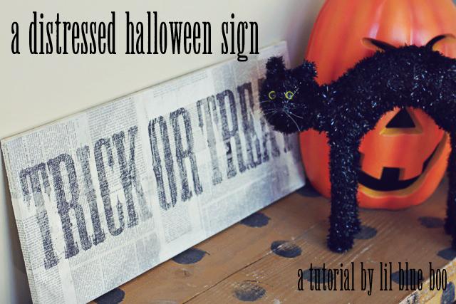 a distressed halloween sign diy tutorial via lilblueboo.com