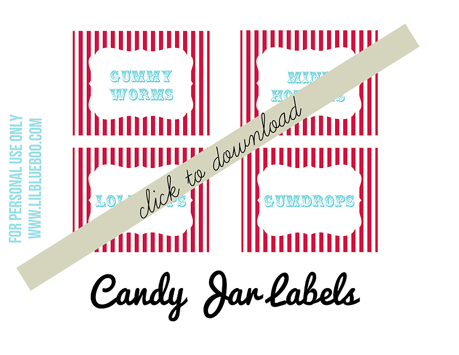 Free Candy Buffet Circus Party Theme Printables via lilblueboo.com