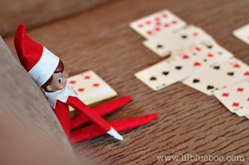 Elf on the Shelf Ideas - Playing Cards