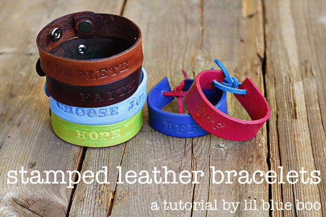 Stamped Leather Bracelets - DIY Tutorial via lilblueboo.com