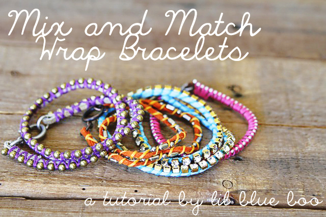 DIY Mix and Wrapped Bracelets Tutorial via lilblueboo.com