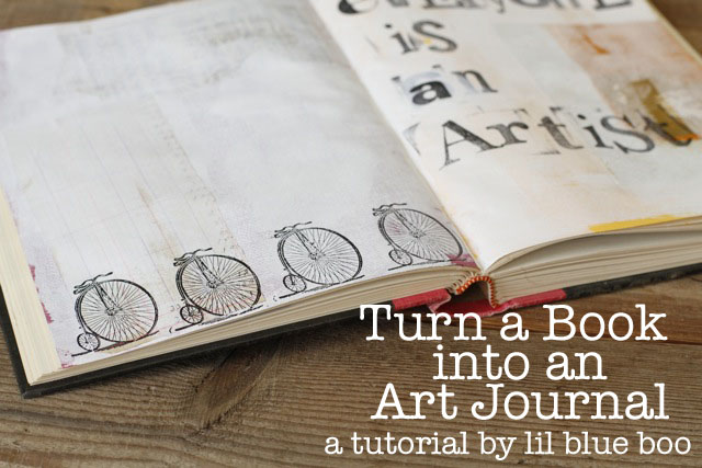 How to turn an old book into an art journal. DIY tutorial via lilblueboo.com