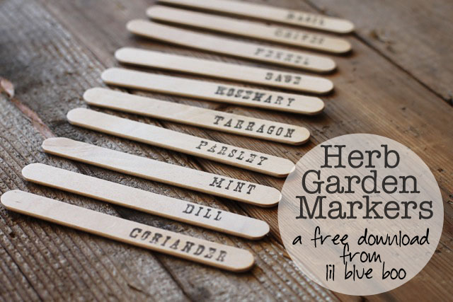 Herb Garden Markers tutorial DIY (Free Download) via lilblueboo.com