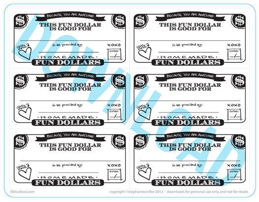 Fun Dollar Coupons Free Printable / Download via lilblueboo.com