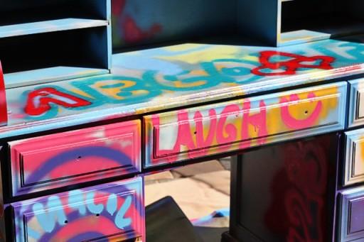 Spraypaint graffiti furniture tutorial process3 via lilblueboo.com