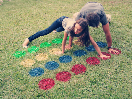 Outdoor and indoor games for kids DIY stencil Twister tutorial via lilblueboo.com