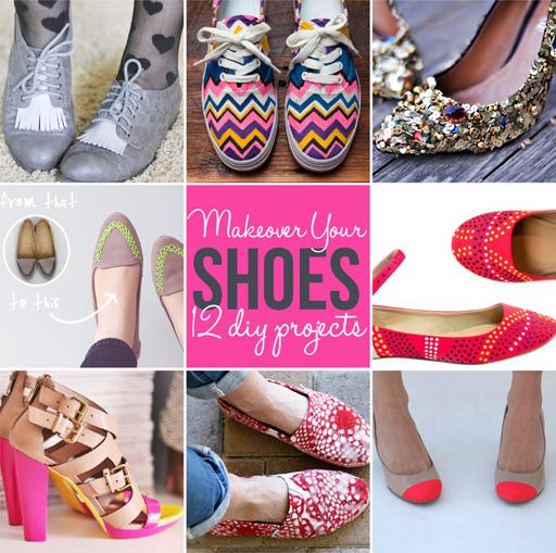 12 diy shoe makeover / update tutorials via lilblueboo.com