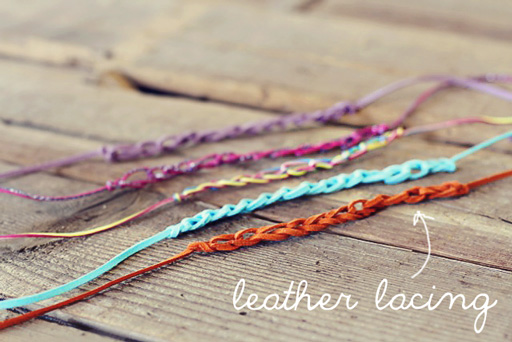 Easy Finger Crochet Bracelet DIY leather lacing via lilblueboo.com