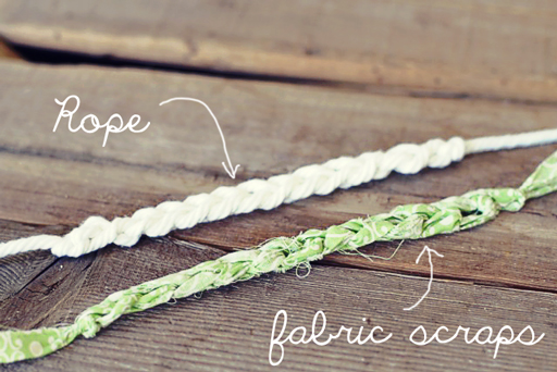 Easy Finger Crochet Bracelet DIY rope and fabric-scraps via lilblueboo.com