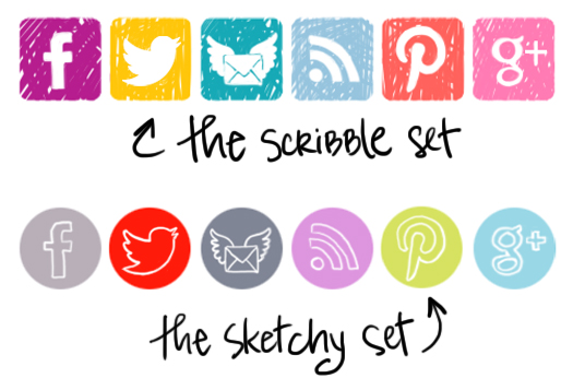 Social media icons / buttons - free download - via lilblueboo.com