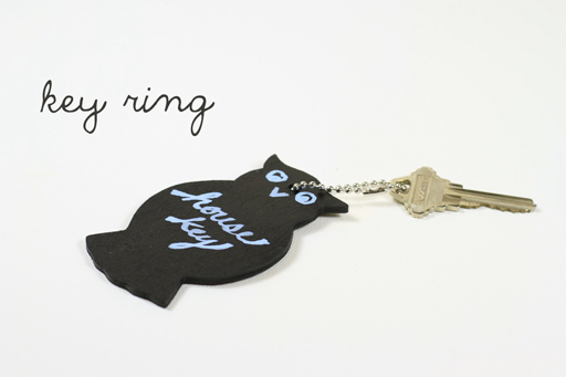 Chalkboard key ring via lilblueboo.com