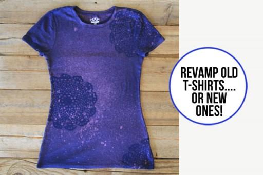 Revamp t-shirts using bleach stenciling via lilblueboo.com