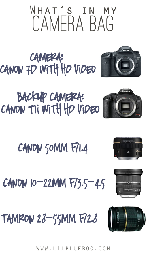 What's in my Camera Bag via lilblueboo.com