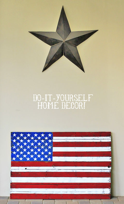 DIY Rustic Distressed American Flag Painting from (DIY Home Decor) Wood Pallet via liblueboo.com