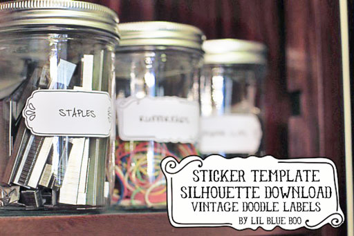 Free Vintage Label Silhouette Sticker Download via lilblueboo.com