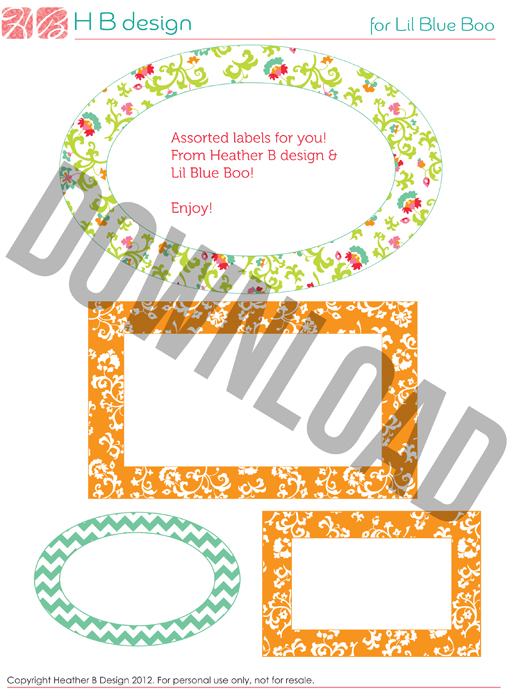 Free assorted printable labels made to match home management binder (bright set) by Heather B Design via lilblueboo.com