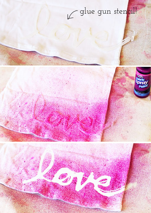 DIY Hot Glue Stencils / Stenciling (on clothing) via lilblueboo.com