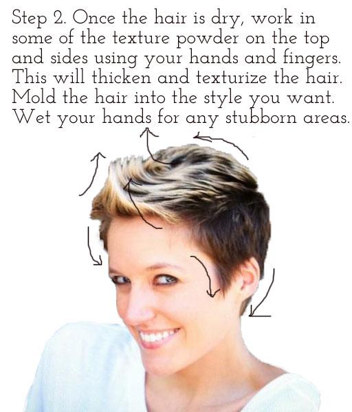 Styling short hair (using hair texture powder) via lilblueboo.com