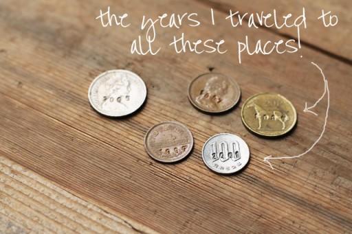 Tutorial (Stamped Travel Dates into Coins) via lilblueboo.com