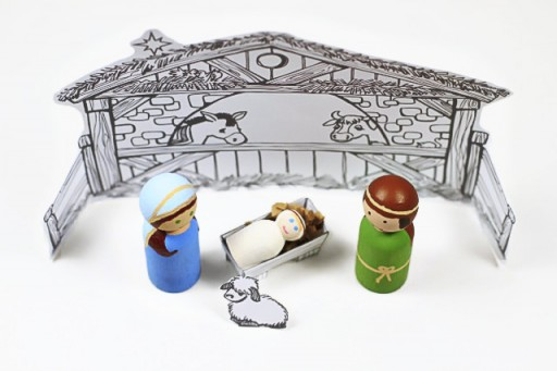 Paint Nativity Peg Dolls with Download via lilblueboo.com