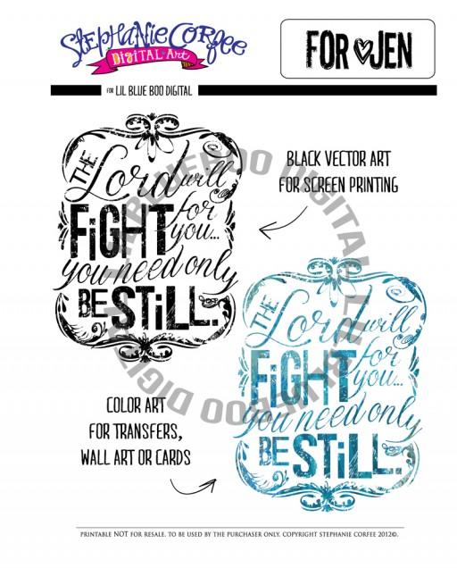 Digital Be Still Art by Stephanie Corfee (For Jen Thompson Stage 4 ovarian cancer) via lilblueboo.com