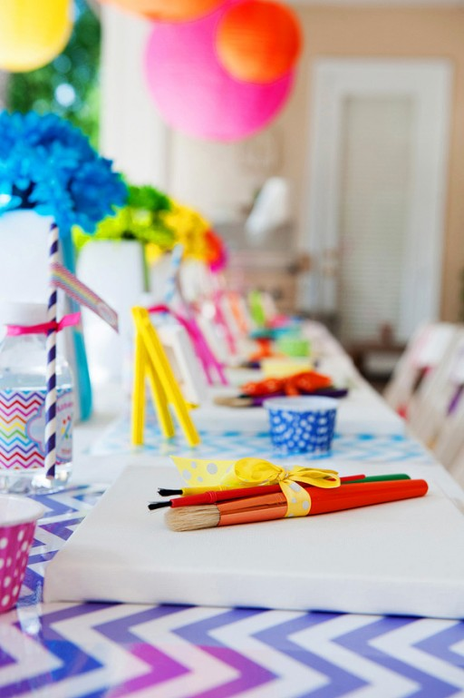 chevron rainbow arts and craft party by Ellen Bessette via lilblueboo.com