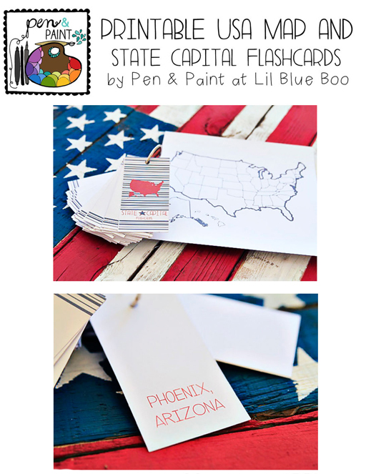 Printable USA Map and State Capital Flashcards via lilblueboo.com #teaching #states #learning #teachers