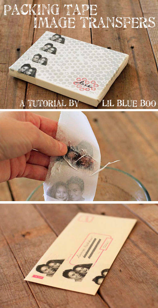 How to make image transfers with packing tape via lilblueboo.com
