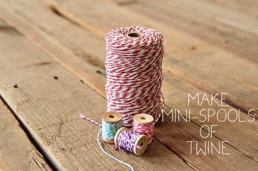 Projects using baker's twine (mini wood spools) via lilblueboo.com