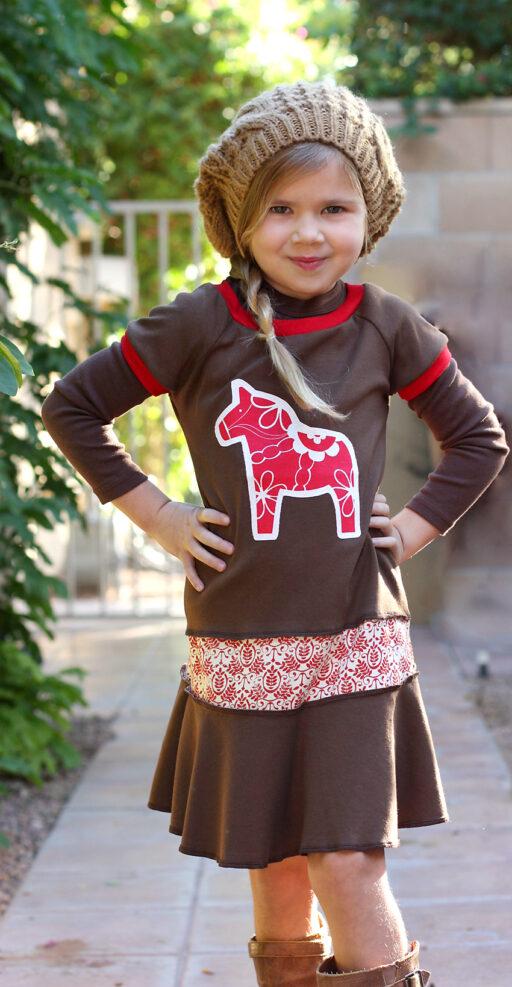 Comfy dress for the Holidays! Dala Horse Short Sleeve Layering Dress via lilblueboo.com