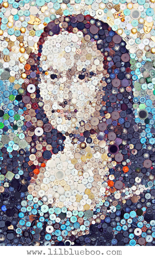 "Mona Lisa Button Art Collage via lilblueboo.com (click through to see the ""DIY How To"" HD time lapse video)"