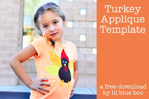How to make a NO SEW turkey shirt (free applique download) via lilblueboo.com #thanksgiving