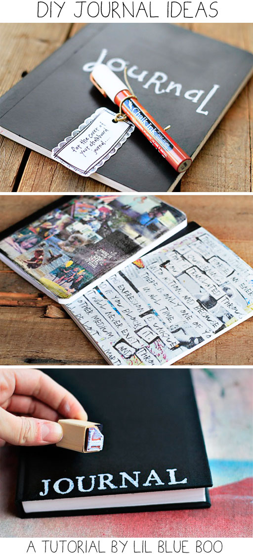 DIY Journal Ideas (Chalkboard, Transfer, Stamped) via lilblueboo.com