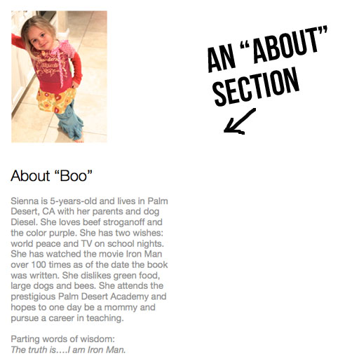 Add an about section to photo book via lilblueboo.com