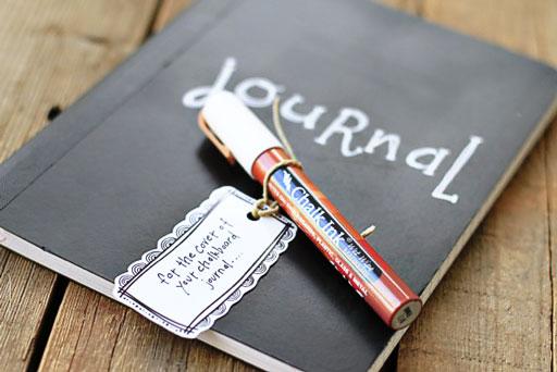 Make a Chalkboard Journal (Chalk Ink) via lilblueboo.com