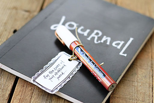 Use Chalk Ink on Chalkboard Journals via lilblueboo.com