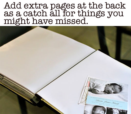 Add extra blank pages to photo albums when you are finished via liblueboo.com