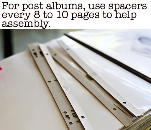 How to Assemble Post Bound Albums with Spacers via lilblueboo.com